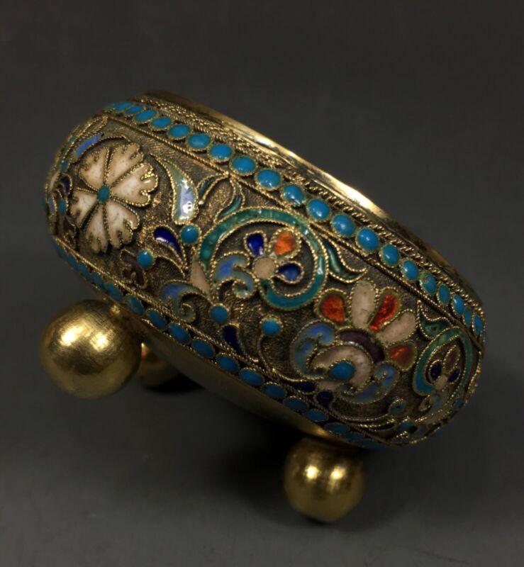 Antique Russian 84 Silver Enamel Large Master Salt Bowl