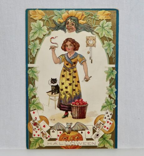 Vintage H16 Halloween Postcard Girl & Black Cat -  80535