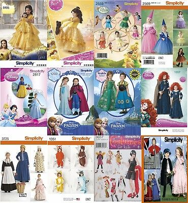 Simplicity Sewing Pattern Kids' Costumes Halloween Disney Princess Fairy Flapper