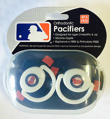 Minnesota Twins Baby Infant Pacifiers NEW - 2 Pack   GREAT SHOWER