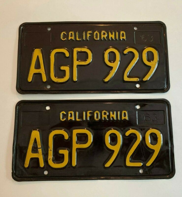 1963 California License Plate PAIR Plates Black Vintage Classic ALL ORIGINAL