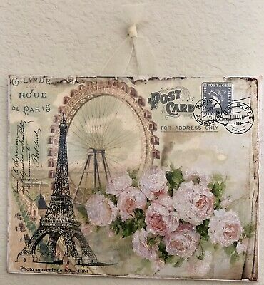 Shabby Paris Eiffel Tower & Roses Postcard Plaque Sign Wall Decor French Cottage