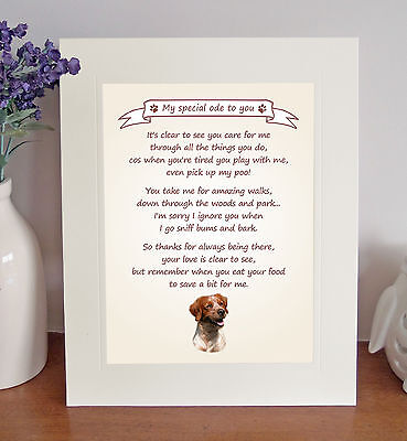 "Brittany 10"" x 8"" Free Standing 'Thank You' Poem Fun Novelty Gift FROM THE DOG"