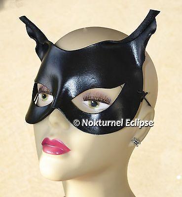 Black Catwoman Leather Mask Halloween Batman Gotham Cosplay Geek Comic Con  ()