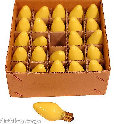 Box of 25 Night Light Candle Lamp Bulbs - 5 watt, C7, - Opaque Yellow