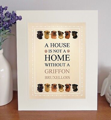 "Griffon Bruxellois 10""x8"" Free Standing A HOUSE IS NOT A HOME Picture Mount Gift"