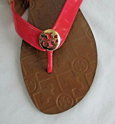 TORY BURCH Logo SANDALS Pink Patent Leather FLIP FLOPS Designer Women 8 T Strap