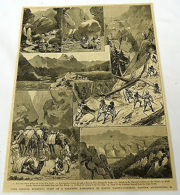 1884 magazine engraving~General Kennedy Scientific Expedition in AFGHANISTAN