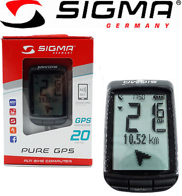 Sigma Pure GPS 20 Function Bike Computer Navigation Altitude Strava Road MTB
