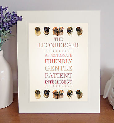 """Leonberger 10"""" x 8"""" Free Standing Breed Traits Picture Mount Lovely Gift Idea"""
