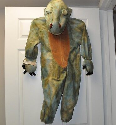 Kids Full Dinosaur Costume Stuffed Head Hood Size Medium One Piece Tail T-Rex for sale  Shipping to Canada