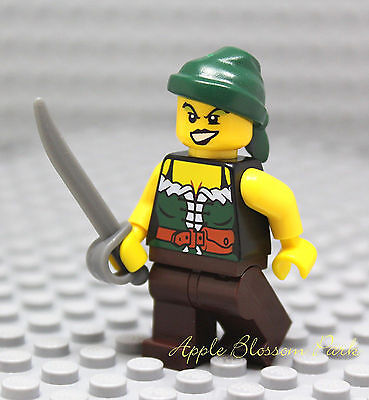 NEW Lego FEMALE PIRATE MINIFIG Girl w/Dark Brown Legs Green Torso Rag Hat Sword