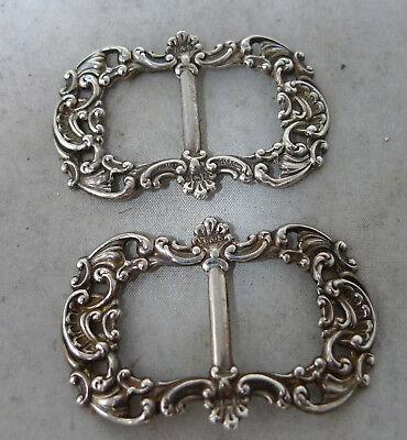 Edwardian Silver Buckles Levi & Salaman Birmingham 1906 4.6cm x 3cm A602017