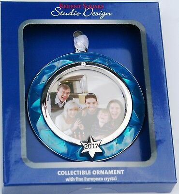 Hanukkah Family Picture Holder 3 inch diameter ornament Blue Silver Rim / New - Hanukkah Ornaments