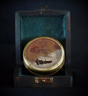 Brass Wooden Boat Compass and Hardwood Box