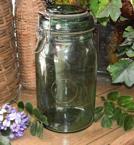 Vintage French Green Glass Durfor Canning Jar 1.5 Litre Bale Closure