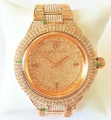 Michael Kors Watch Womens Chrystals Dial Rose Gold Band MK5862 Genuine VIP