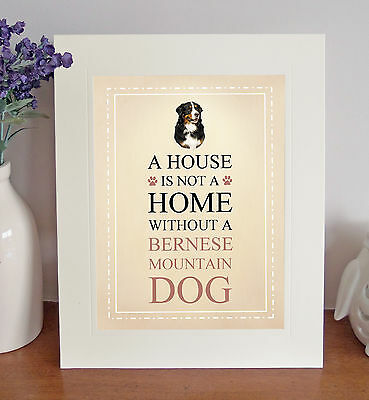 "Bernese Mountain Dog 10"" x 8"" Free Standing A HOUSE IS NOT A HOME Picture Print"
