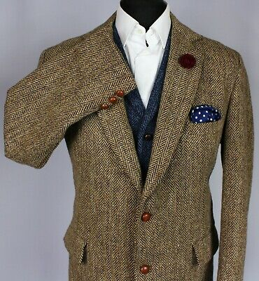 Harris Tweed Blazer Jacket Brown 44R SUPERB COLOUR WEAVE X752