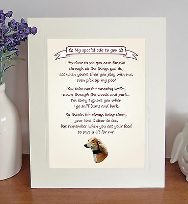 "Saluki 10"" x 8"" Free Standing 'Thank You' Poem Fun Novelty Gift FROM THE DOG"