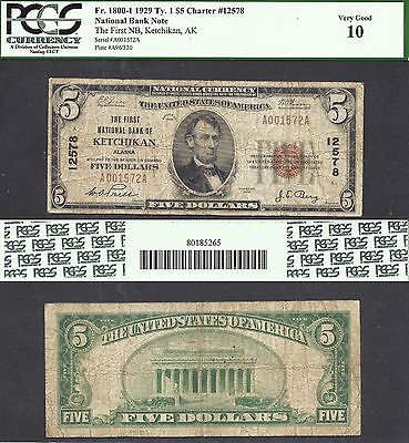 Click now to see the BUY IT NOW Price! $5 1929 KETCHIKAN AK CH 12578 TERRITORIAL ALASKA NATIONAL PROBLEM FREE PCGS 10