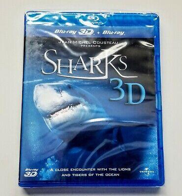 Jean-Michel Cousteau Presents Sharks 3D (3D + 2D Blu-ray, 2 Discs) *BRAND NEW*