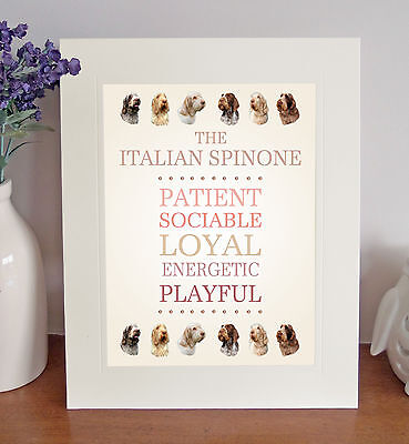 "Italian Spinone 10"" x 8"" Free Standing Breed Traits Picture Mount Lovely Gift"