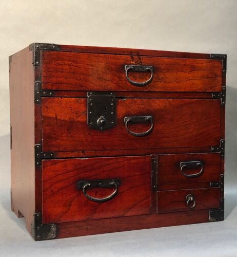 A lovely Japanese Antique Lacquer Keyaki Ko Tansu Small Chest
