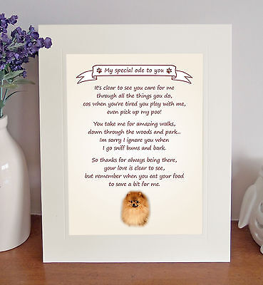 "Pomeranian 10"" x 8"" Free Standing 'Thank You' Poem Fun Novelty Gift FROM THE DOG"