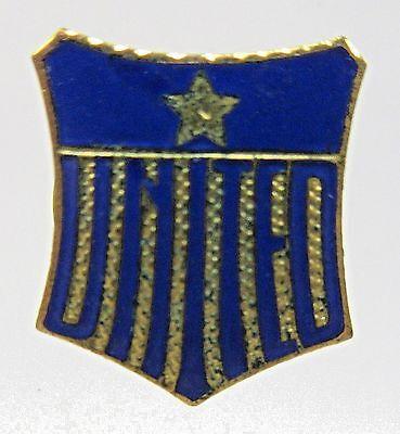 early vintage UNITED patriotic shield enamel inlay collar lapel stud +