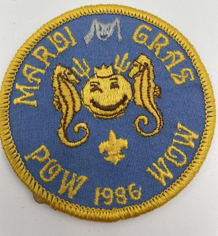 Mardi Gras POW WOW 1986 Boy Scouts Patch 1986 Vintage BSA Boy Scouts Of America