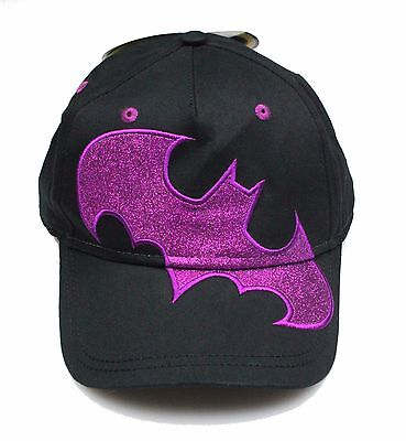 New DC Comics Batman Batgirl Pink Glitter Logo Youth Girls Baseball Cap Hat