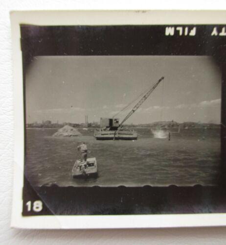 Bridge Construction Work Barge Crane Pilings Workers Super XX Photo Proof Strip