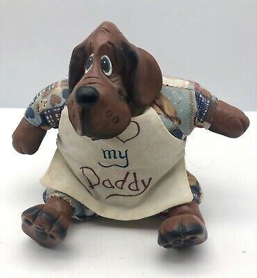 """Russ Berrie Dog Figure Paper Weight Sitting 5.5"""" I love my Daddy On Apron"""