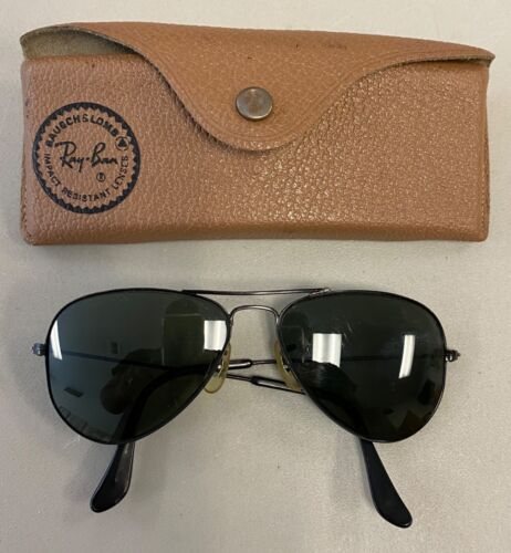 VINTAGE B&L RAY-BAN BLACK AVIATOR SUNGLASSES W/Case Estate Find