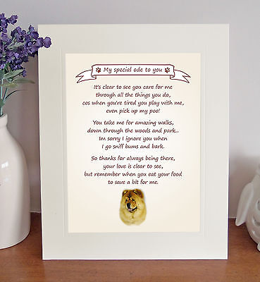 """Chow Chow 10"""" x 8"""" Free Standing Thank You Poem Fun Novelty Gift FROM THE DOG"""