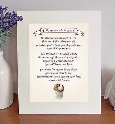 """Clumber Spaniel 10x8"""" Free Standing Thank You Poem Fun Novelty Gift FROM THE DOG"""