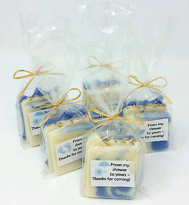 BABY BOY FAVORS: Natural Organic Soap | Blue, White Theme | Elephant + Umbrella