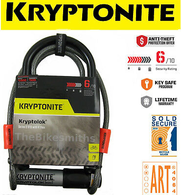 Kryptonite Kryptolok Series 2 Standard U-Lock & 4' Cable & Bike Mount Kryptolock
