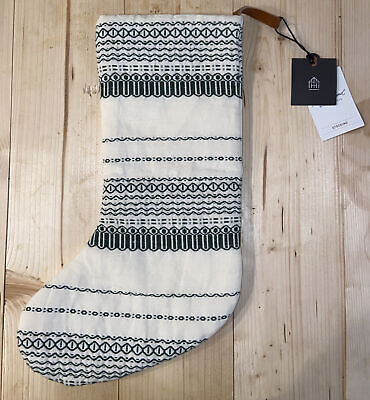 Hearth and & Hand with Magnolia Christmas Stocking Green White Holiday NWT