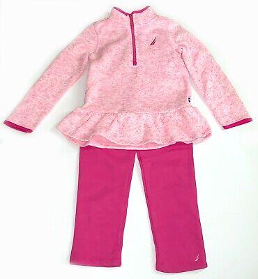 Nautica 2 Piece Suit Sweatpants & 1/4 Zip Sweatshirt Sweater for Girls Pink 4T