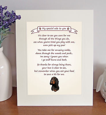 "Gordon Setter 10""x8"" Free Standing Thank You Poem Fun Novelty Gift FROM THE DOG"