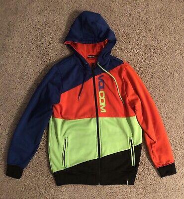 Vibrant Lightly Worn Volcom Color Blocked Hooded Full Zip Jacket - Men's Small Volcom Mens Block