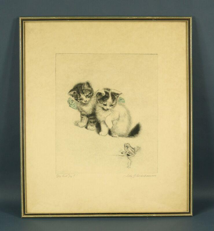 META PLUCKEBAUM Vtg P/S CATS KITTENS Etching WER BIST DU? Listed German Artist