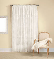 Country Lace Curtain Panel with Attached Valance & Tassels - Assorted Colors