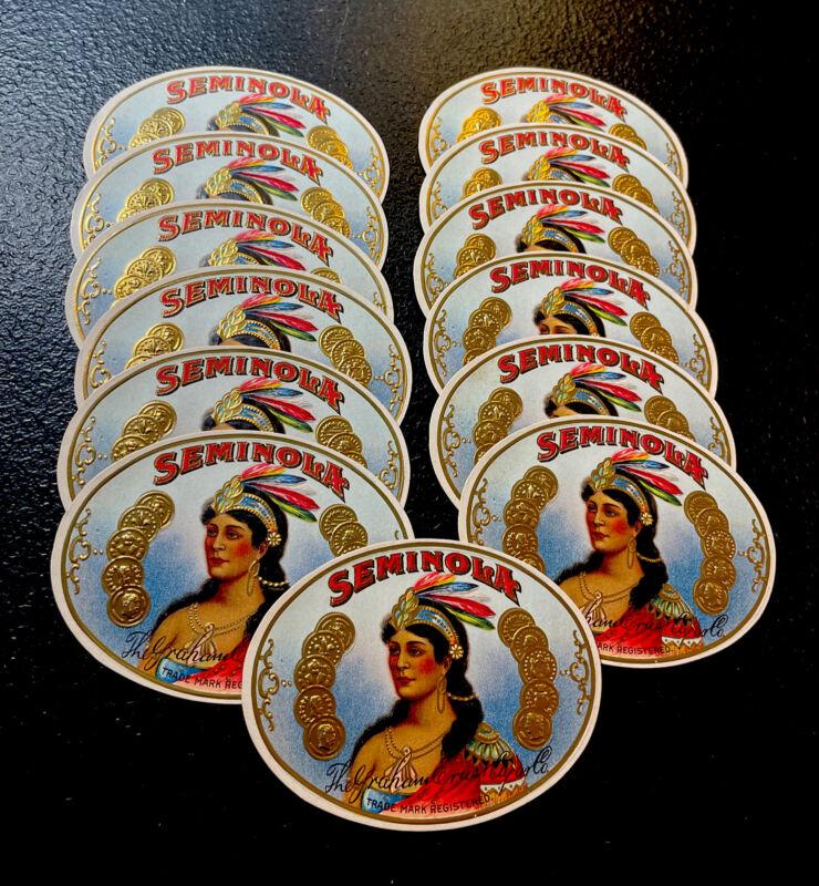 (13) ORIGINAL Unused SEMINOLA Indian Cigar Label Lot - Tobacco Advertising