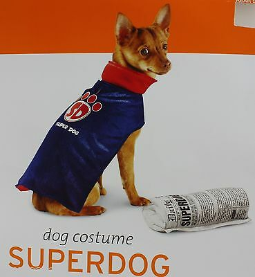 Halloween Blue & Red Superdog Pet Dog Costume Size Small 5-15 lbs 10-14 in NWT