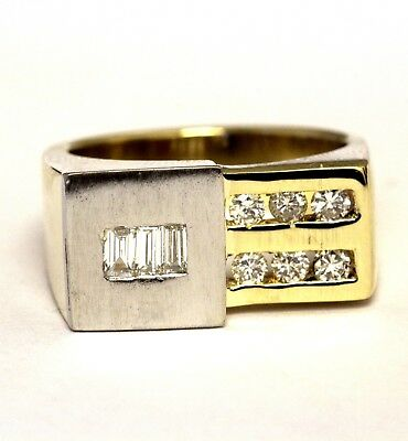 18k yellow white gold .63ct VS G diamond mens ring band 15.2g gents (18k Gold Gents Ring)