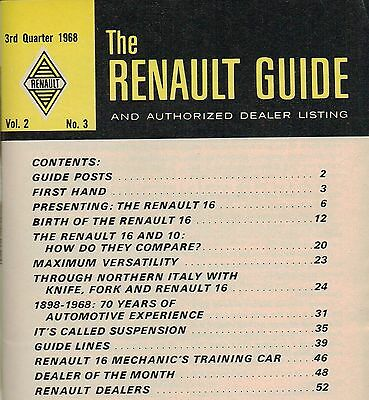 Brochure Catalog Guide - 1968 RENAULT 16 GUIDE Brochure / Catalog with History: Sedan, Station Wagon