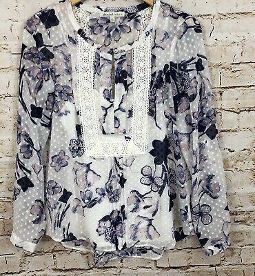 Daniel Rainn floral swiss dot shirt w/ cami tank women medium blouse roll tab A3 Floral Swiss Dot
